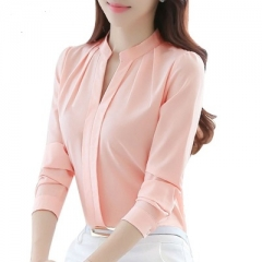 Women Tops Long Sleeve Casual Chiffon Blouse Female V-Neck Work Wear Solid Color White Office Shirts pink s