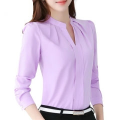 Women Tops Long Sleeve Casual Chiffon Blouse Female V-Neck Work Wear Solid Color White Office Shirts purple xl
