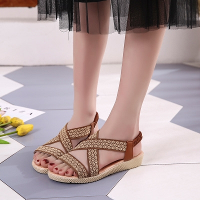 9632ae814 Latest Arrival Summer Ladies Women Leisure Gladiator Sandals Fashion Cross  Flat Roman Shoes brown 38  Product No  1320376. Item specifics  Seller  SKU h1111 ...