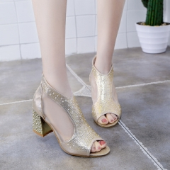 Spring Women Peep Toe Mesh Sandals Female Crystal Zipper Square high Heels Ladies Party Dress Shoes gold 35