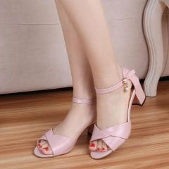 2018 Women Sandals Summer High Quality Fashion Peep Toe Sandals Buckle Decor Square Heel Women Shoes pink 35