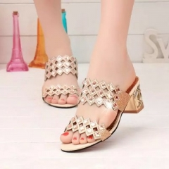 Woman Rome Sandals Slippers Open Toe Square Heels Crystal Sandals Women's Summer Lady's Shoes gold 35