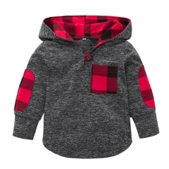 Toddler Kid Baby Boys Girls Plaid Hoodie Pocket Long Sleeve Sweatshirt Pullover Tops Warm Clothes grey 90cm