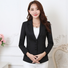 Plus Size 5XL Elegant Business Lady Jacket New 2018 Women Full Sleeve Work Blazer Female Casual Coat black s