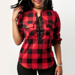 Women Plaid Shirts Long Sleeve Blouses Shirt Office Lady Cotton Lace up Shirt Tunic Casual Tops red l