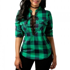 Women Plaid Shirts Long Sleeve Blouses Shirt Office Lady Cotton Lace up Shirt Tunic Casual Tops green 3xl