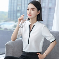 V-neck half short sleeve elegant shirt women OL Formal Business chiffon blouse office ladies tops white s
