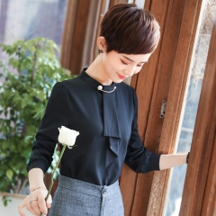 Loose o-neck women formal blouse long sleeve elegant casual chiffon shirts ladies office work tops black l