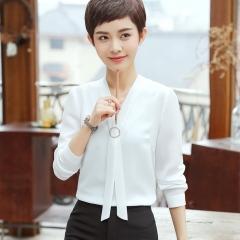 Summer loose v-neck elegant shirt women's formal blouse long sleeve blouse ladies office work tops white s