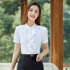 elegant ruffles OL formal shirt women slim stand collar short sleeve chiffon blouse work wear tops white s