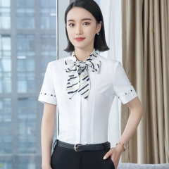 OL Elegant ladies short-sleeve shirt bow tie chiffon blouse women blouse work wear formal office top white s