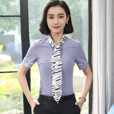 a503395c86e7aa OL Elegant ladies short-sleeve shirt bow tie chiffon blouse women blouse  work wear formal office top blue 4xl  Product No  1354614. Item specifics   Seller ...