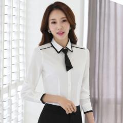 Women formal clothing long sleeve shirts OL elegant bow tie chiffon blouse office ladies work wear white s