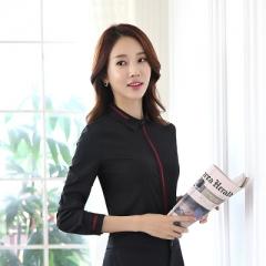 Formal shirt women long sleeve chiffon blouse clothing patchwork work wear OL slim office tops black s