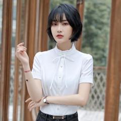 Short sleeve women shirt OL temperament business formal slim bow chiffon blouse office ladies  tops white s