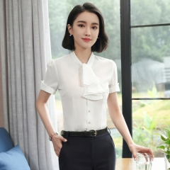 Slim bow tie women chiffon shirt short sleeve elegant ruffle stand collar ladies formal blouse white s