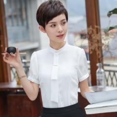 Women blouse short sleeve formal shirt office work elegant ol o-neck shirt plus size work wear tops white s