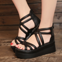 2018 women high heel sandals woman ankle strap shoes high quality brand muffin heels women sandals black 35
