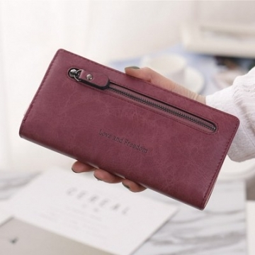 New Multicolor leather wallet female long paragraph leather wallets Purse for women free shipping wine red one size