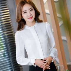O-neck solid blouses women elegant slim formal long sleeve chiffon shirt office ladies work  tops white s