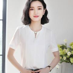 Summer elegant women short sleeve shirt OL o-neck chiffon blouse tops ladies loose  office work wear white s