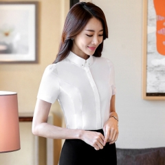 2018 Collar work shirts women clothes OL summer formal slim short Sleeve chiffon office blouse white s