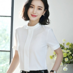 2018 Summer fashion Sexy o-neck shirt women OL Career temperament formal short sleeve chiffon blouse white s