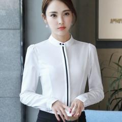 O-neck solid office blouses women elegant slim formal chiffon long sleeve shirt work wear tops white s