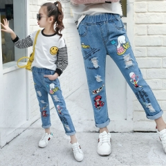 2018 Hot Children Jeans Boy Girl Ripped Jeans Fashion Jeans for Teenagers Girl Denim Jeans Trousers blue 110cm