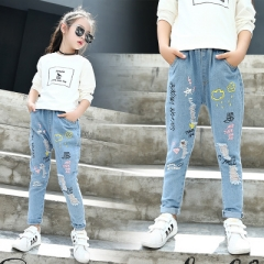 Children's Clothes Girls Jeans Tee Causal Cartoon Denim Jeans for Big Girls Kids Jean Long Trousers blue 110cm