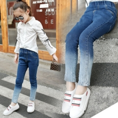 2018 Kids Jeans Pants Ombre Skinny Girl Jeans Trousers Mid Casual Denim Children Clothing Spring blue 110cm