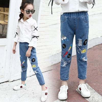 641fcc666 Girls Jeans Denim Trousers For Kids Children Hole Pants Girls Casual Wear Boy  Ripped Elastic Waist blue 110cm  Product No  1375880. Item specifics   Seller ...