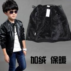 Children Coat  Winter Thick Velvet Kids PU Leather Jacket  Solid Children's Warm Clothes Outwears black 110cm