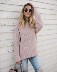 2018 Hot Sweater ladies korea lace up knitted women sweaters and pullovers loose winter sweater pink s