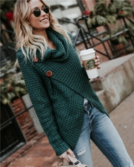 2018 Hot Sweater ladies korea lace up knitted women sweaters and pullovers loose winter sweater green s