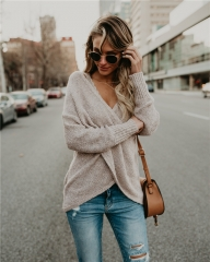 2018 Hot Sweater ladies korea lace up knitted women sweaters and pullovers loose winter sweater khaki s