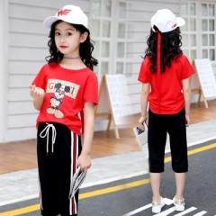 2018 Girls Clothes Summer Style Tops Shorts 2pcs Kids Casual T-shirt + Cropped Trousers Teenager red 120cm