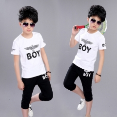 Sport Suits Teenage Summer Boys Clothing Sets Short Sleeve T Shirt & Pants Casual Child Boy Clothes white 120cm