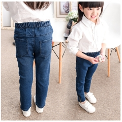 Girls Denim Jeans for Girls Children's Jeans Free Shipping Solid Spring Jeans Girls Kids Trousers dark blue 7