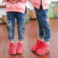 2018 Girls Jeans Kids Clothing Pants For Girls Trousers Elastic Waist Baby Cowboy Trousers blue 7