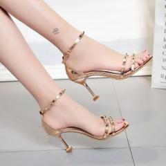 Women High Heels Sandals T-Stage Classic Dancing Heeled Sandals Sexy Stiletto Party Wedding Shoes gold 35