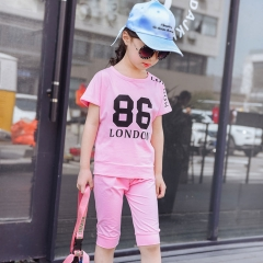 2018 Summer Baby Girls Clothes Shorts +T shirt 2Pcs/set 2-12 Years Toddler Girls Summer Clothing Set pink 100cm