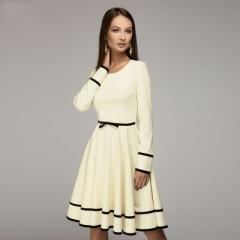 Women simple A-line dress O-neck long sleeve knee-length dress Elegnat women casual solid vestidos s beige