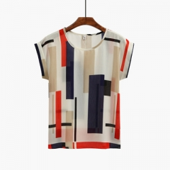 2018 Summer Tshirt Striped Pockets Short Sleeve T Shirt Women Casual T-Shirt Female Floral Print Top #01 m