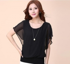 2018 Fashion Women Summer Chiffon Blouse Plus Size Ruffle Batwing Short Sleeve Casual Shirt black s