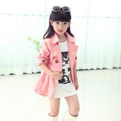 2018 Hot Girl Children's Autumn Coat  Baby Coat Girl's Outfits Jacket Windbreaker For Girls Coat pink 130cm