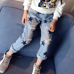 2018 Children Broken Hole Pants Regular Casual Pants Baby Girl Clothes  4-13 Years Jeans Trousers blue 110cm