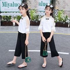 Casual children Clothing Half Sleeve T-shirt+ Pants 2pcs/set Fashion Clothing Children Active Suits white 110cm