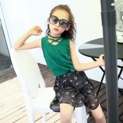 2018 Girls Clothes Set Blouse Top & Black Peacock Wide Leg Shorts 2pcs/Set Teenage Girls Clothing green 110cm