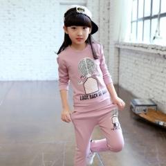 Girls Clothing Set Teenage Girls Sets T Shirt + Leggings Pants Clothing Sets Girls School Suit Sets pink 110cm